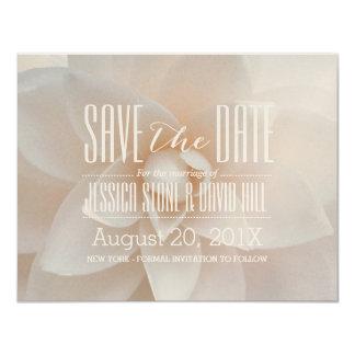 Elegant White Floral Wedding Shimmer Save the Date Card