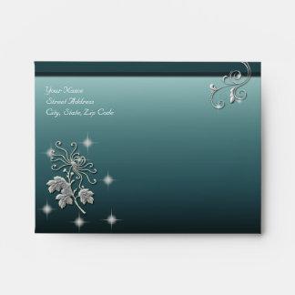 Elegant White Flower & Blue Wedding Ensemble Envelopes