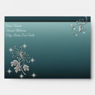 Elegant White Flower & Blue Wedding Ensemble Envelope