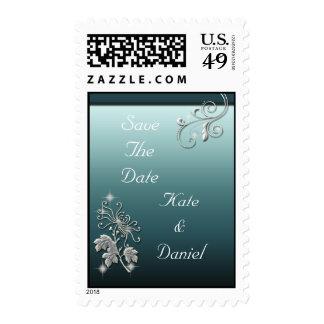 Elegant White Flower & Blue Wedding Ensemble Stamp
