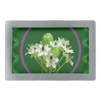 Elegant white flower floral  graphic on 100 gifts belt buckle