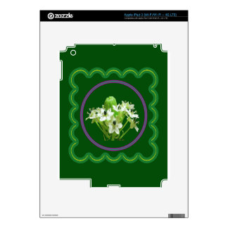 Elegant white flower floral  graphic on 100 gifts iPad 3 decal