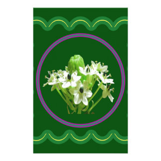Elegant white flower floral  graphic on 100 gifts stationery