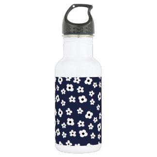 Elegant White Flower Floral Pattern -  Blue Back Stainless Steel Water Bottle
