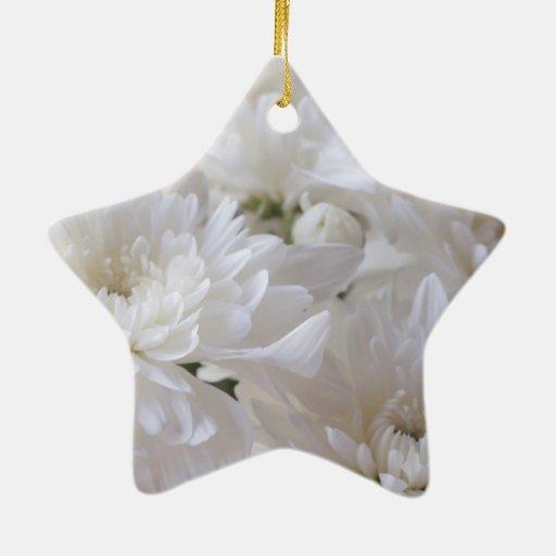 Elegant White Flowers Christmas Tree Ornaments Zazzle