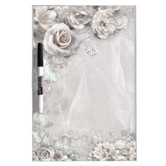 Elegant white Flowers Dry-Erase Board