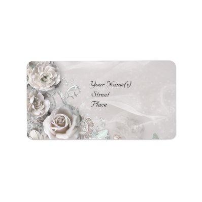 Elegant White Flowers Personalized Address Label