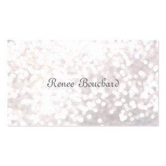 Elegant White Glitter Bokeh Event Planner Business Card