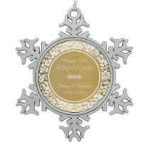 Elegant White & Gold 50th Wedding Anniversary Snowflake Pewter Christmas Ornament