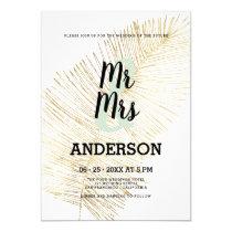 Elegant white gold foil tropical palm tree wedding invitation