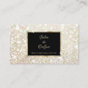 Elegant White Gold Glitter Black and Gold Salon Business Card