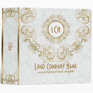 Elegant White & Gold, Glitter Floral Frame 3 Ring Binder