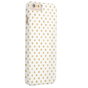 Elegant White Gold Glitter Polka Dots Pattern Barely There iPhone 6 Plus Case