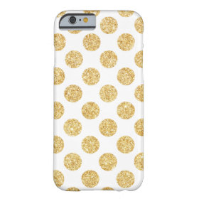 Elegant White Gold Glitter Polka Dots Pattern Barely There iPhone 6 Case