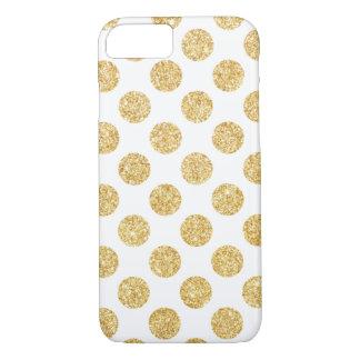 Elegant White Gold Glitter Polka Dots Pattern iPhone 7 Case