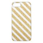 Elegant White Gold Glitter Stripes iPhone 7 case