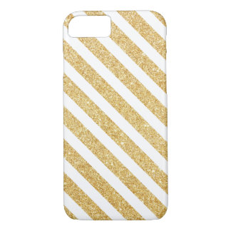 Elegant White Gold Glitter Stripes iPhone 7 case