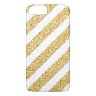 Elegant White Gold Glitter Stripes iPhone 8 Plus/7 Plus Case