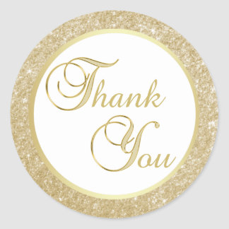 Elegant White Gold Glitter Thank You Envelope Classic Round Sticker