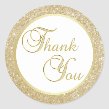 Professional Business Elegant White Gold Glitter Thank You Envelope Classic Round Sticker