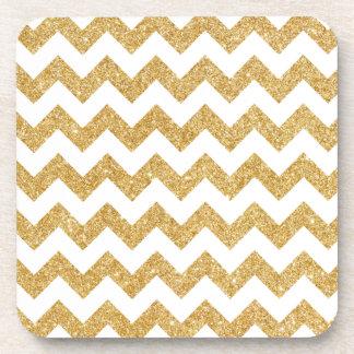 Elegant White Gold Glitter Zigzag Chevron Pattern Beverage Coaster