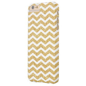 Elegant White Gold Glitter Zigzag Chevron Pattern Barely There iPhone 6 Plus Case