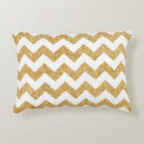 Elegant White Gold Glitter Zigzag Chevron Pattern Decorative Pillow