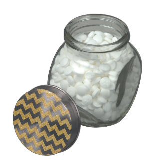 Elegant White Gold Glitter Zigzag Chevron Pattern Glass Candy Jars