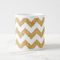 Elegant White Gold Glitter Zigzag Chevron Pattern Large Coffee Mug