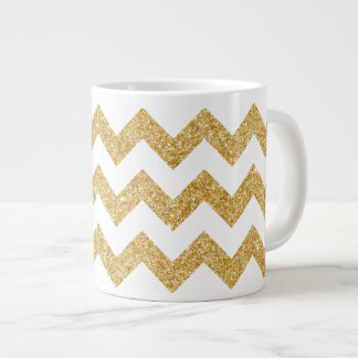 Elegant White Gold Glitter Zigzag Chevron Pattern Large Coffee Mug