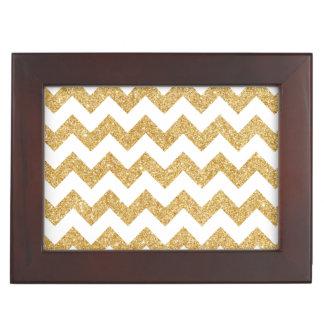 Elegant White Gold Glitter Zigzag Chevron Pattern Memory Box