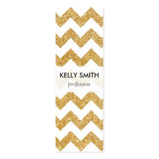 Elegant White Gold Glitter Zigzag Chevron Pattern Mini Business Card
