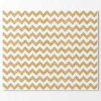 Elegant White Gold Glitter Zigzag Chevron Pattern Wrapping Paper