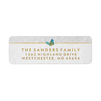 Elegant White Gold & Gray Butterfly Return Address Label