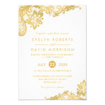 Elegant White Gold Lace Pattern Formal Wedding Invitation