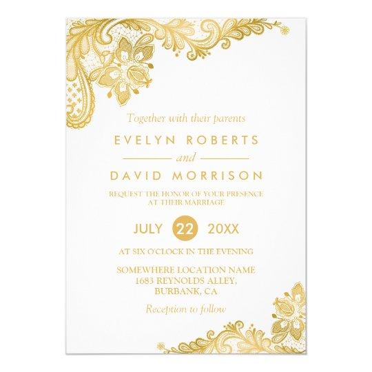 Elegant White Gold Lace Pattern Formal Wedding Invitation Zazzle Com
