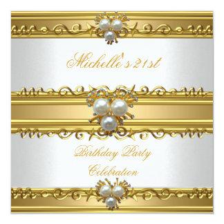 Elegant White Gold Pearl Jewel 21st Birthday Party Card