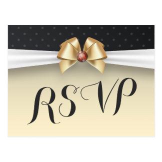 Elegant White Gold Ribbon Red Diamond Wedding RSVP Postcard