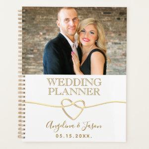 Elegant White & Gold Rope Heart Wedding Photo Planner