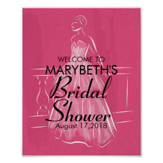 Elegant White Gown Bridal Shower Sign Poster