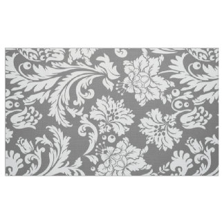 Elegant White & Gray Floral Damasks Fabric