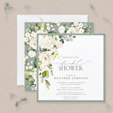 Elegant White Gray Green Watercolor Bridal Shower Invitation