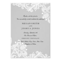 Elegant White Gray Lace Wedding Invitation