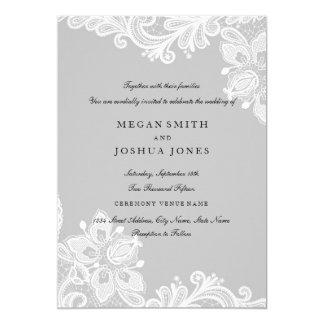 Elegant White Gray Lace Wedding Invitation