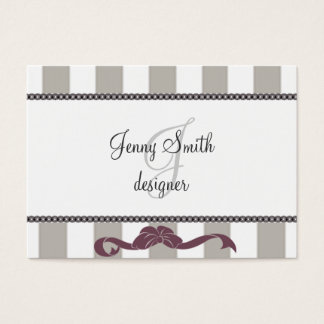 Elegant white gray stipes  lase purple pink bow business card