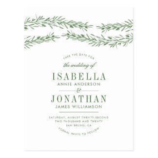Elegant White & Green Botanical Save The Date Postcard