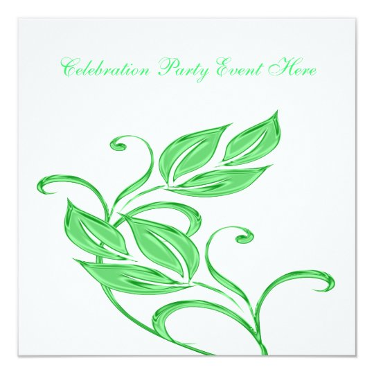Elegant White Green Glass Floral All Events Card