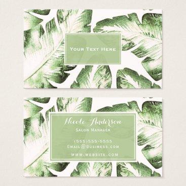 Beach Themed Elegant White Green Tropical Beach Leaves Chic Business Card