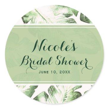 Beach Themed Elegant White Green Tropical Beach Leaves Favor Classic Round Sticker