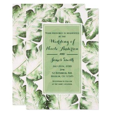 Beach Themed Elegant White Green Tropical Beach Leaves Wedding Card